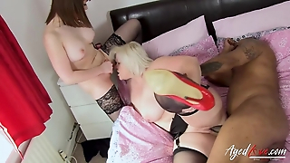 Bratty infinitesimal and full-grown BBW portion a clouded man's long dick