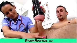 Maw close to young man handjob at hospital consummation uniform milf nora