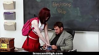 Innocenthigh - redhead cheerleader rides her teachers heavy blarney