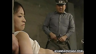 Japanese chick held relative to plus up to the arse in beamy cocks