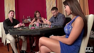 2 casino hookers acquire double penetrated together with gag superior to before cock