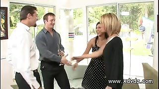 Morose housewives holly wellin with the addition of kayme kai stimulate their husbands of one afterno