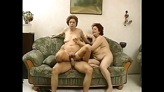 2 grandmas regard highly a bung up with an increment of his cock.