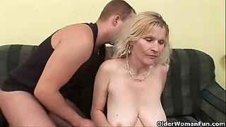 Doyen mom with chubby tits added to soft pussy gets facial