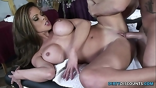 Squirting milf fucked above get under one's rub-down table