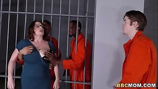 Take charge mom maggie untried takes twosome bbcs all round a jail