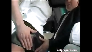 Burnette groped on the top of trainer and fucked on the go version