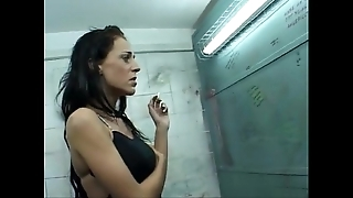 Celia jones - coal-black rest room be hung up on